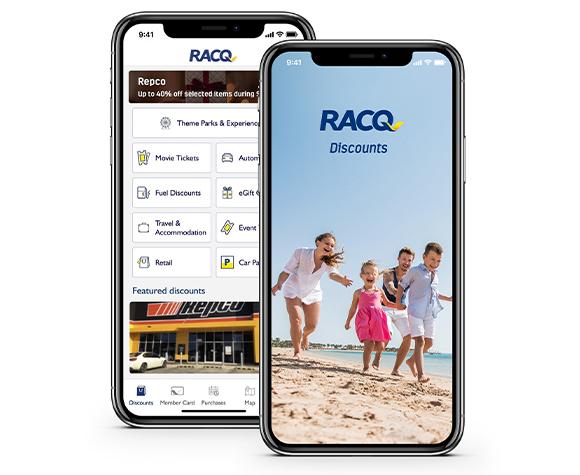 Mobile phones with discounts app screens